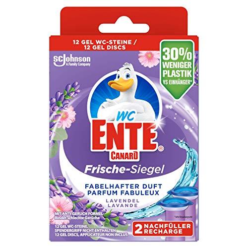 WC-Ente Ricarica per sigilli freschi, senza cestini, 12 pietre per WC, fragranza lavanda, confezione da 5 (5 x 72 ml)