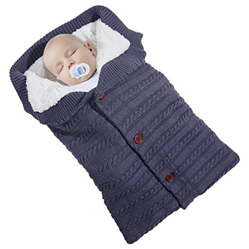 Saco de Dormir de Punto Felpa,Manta de Invierno para Bebé Recién Nacido...