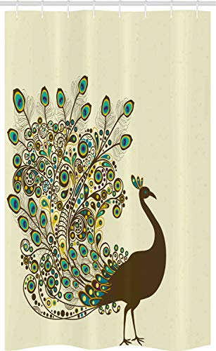 ABAKUHAUS Pauw Douchegordijn, Bird Peacock Profiel, voor Douchecabine Stoffen Badkamer Decoratie Set met Ophangringen, 120 x 180 cm, Veelkleurig