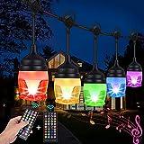 FULLOVE Lichterkette Außen, LED Lichterkette Innen Outdoor 12M Lichterkette mit Stecker 2 Fernbedienungen RGB Lichterkette Hängend Bunt 13 Modi IP65 Wasserfest für Balkon Bar Garten Hochzeit Party