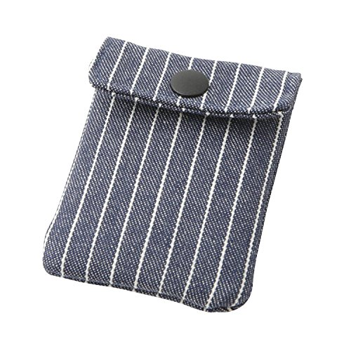 携帯灰皿 おしゃれ かわいい ヒッコリー デニム×ホワイト チョークストライプ 匠の技 河島彰子作 インナーリフィル合計2個付属 日本製
