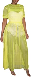 Women Off Shoulder Short Sleeve See Through Maxi Mesh Dress Long Party Gown Dress
