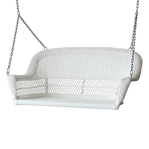 "51.5"" Hand Woven White Resin Wicker Outdoor Porch Swing with Hanging Chain"