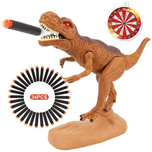 Dinosaur Toys Foam Dart Gun Tyrannosaurus Rex Realistic Model Assorted Dinosaur Figures with Roaring Sound and Lights Best Gift Toy for 3 4 5 6 7 Kids Boys And Girls (Tyrannosaurus Rex Version)
