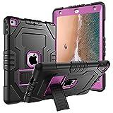 iPad 201724,6cm Case, Digital Hutty 3in 1Stoßfest Heavy Duty Ganzkörper Schutzhülle mit Standfuß für Apple New iPad 24,6cm 2017Release Schwarz, 9.7 Black Purple