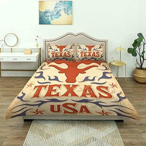 NISENASU Printed Duvet Cover Set,Texas Vintage Poster Card Western Cowboy,With Pillowcase Bedding Quilt Cover,Single 135 * 200cm