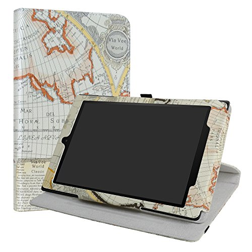 LiuShan Rotary Case voor Nieuwe Fire HD 2017, 360°roterende behuizing met klepstandaard Hoes Shell Case Cover voor Nieuwe Fire HD 10 2017 Android tablet, Map White