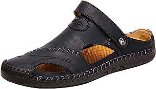 Sandalias de Cuero Casual de Verano para Hombre Transpirable Tendencia Zapatos de Playa al Aire Libre Sandalias de Playa Z...