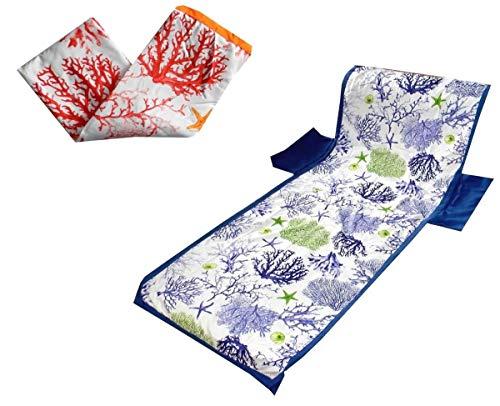 MENITASHOP Telo Mare Coprilettino con Tasche in Microfibra Piscina con Sacchetto Fantasie e Vari Colori(Marina Arancio)