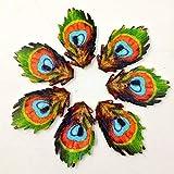 Botones Bodhi2000, 50 unidades, forma de pluma de pavo real, 2 agujeros, botones de madera para coser, scrapbooking, manualidades, decoración