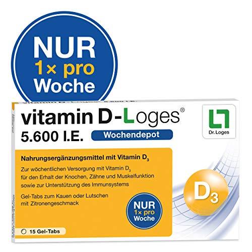 vitamin D-Loges® Tabletten Nahrungsergänzung – 15 Gel Tabs, 5.600 I.E, Wochendepot, für die ganze Familie, hochdosiert