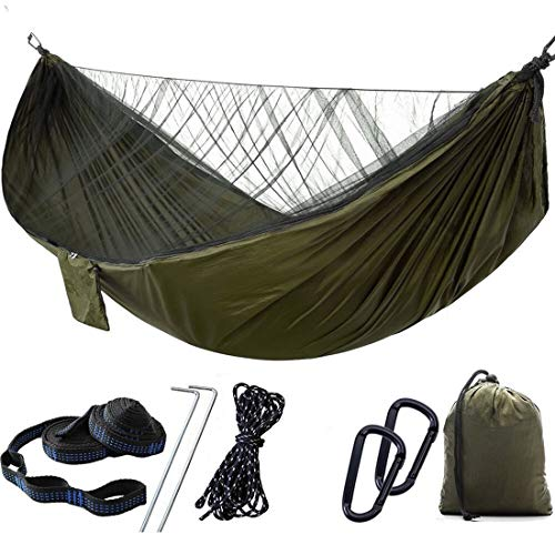 1/2 Person Camping Hammock with Mosquito/Bug Net, Single &Double Hammock Lightweight Portable Parachute Nylon Hammock for Camping,Backpacking,Survival,Travel & More (290x140cm/Green)