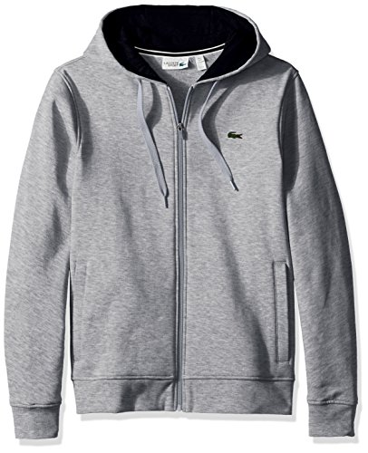 Lacoste Men's Sport Fleece Zip Up Hooded Sweatshirt, Silver Chine/Navy Blue, L