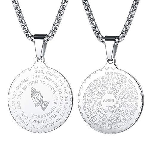 FaithHeart Anhänger Mit Gravur Rund Anhänger Halskette für Herren Männer mit Gravur Bibel Silber Jesus Amulett Religiöse Schmuck …