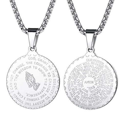FaithHeart Medalla Sagrada Colgante con Mano de Oración e Inscripción Biblia Joyería Milagrosa de Acero Inoxidable para Hombre y Mujer