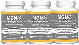 MGN-3 Three Bottles 500mg Double Strength BioBran Arabinoxylan Compound AHCC (3 X 50 Vegetarian Capsules) Brand: MGN-3