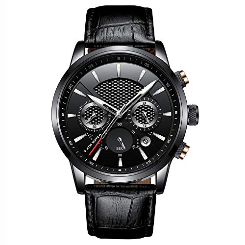 Xiang Qian Zhang Orologi Uomo,Orologio Digitale Uomo,Orologi da Polso da Uomo analogici al Quarzo 30M Cronografo Impermeabile Sport Date Leather Band Watches