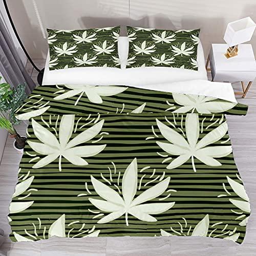 ATZTD Juego de ropa de cama transpirable con hojas de cannabis blancas despojadas, 3 piezas, funda de edredón (1 funda de edredón y 2 fundas de almohada), microfibra ultra suave