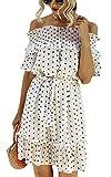 Spec4Y Vestido de mujer con volantes, hombros descubiertos, lunares, manga corta, elegante, vestido de verano, Swing Midi con cinturón. Blanco XXL
