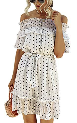 Spec4Y Damen Kleider Rüschen Schulterfrei Polka Dot Punkt Kurzarm Elegant Sommerkleid Swing Midi Kleider mit Gürtel Weiß Medium