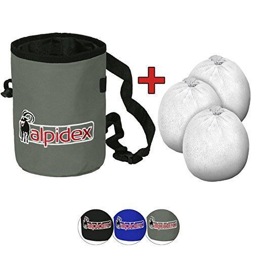 ALPIDEX Chalkbag inklusive 3 x Chalk Ball 35 g Kletterkreide Bouldern Klettern Fitness Gym Turnen Gewichtheben, Farbe:Grey Mountain