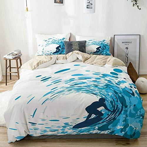 Juego de funda nórdica beige, silueta de un surfista bajo las olas gigantes del océano, imagen de estilo de vida de atleta, aficionado, juego de cama decorativo de 3 piezas con 2 fundas de almohada, f
