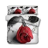 CHAOSE Juego de Sábanas Serie de Rosas Nobles 3D Funda Nórdica de Algodón y poliéster 3 Piezas (1 Funda Nórdica + 2 Funda de Almohada) (Noble Rosa roja, (220x 240cm+2/75x50cm) - Cama de 150/160)