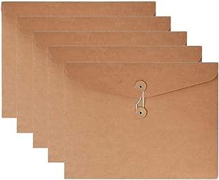 VANRA Kraft String Envelope File Folder Project Pockets File Jacket Document Organizer Flat-No Expansion A4 Letter Size (Yellow, Pack of 5)