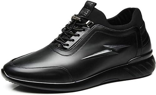 Qiusa Chaussures à Talons cachés pour Hommes - Chaussures de Sport durables et Confortables (Couleuré   Noir, Taille   EU 42)