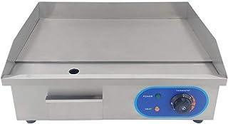 Taimiko Plancha électrique 220 V 3000 W (lisse, boîtier en acier inoxydable) Argent