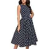 TUSANG Women Skirts Elegant Dot Print Sleeveless Vintage Zip Flare Retro Knee Length Dress Loose Flowy Hem Dress(Blue,US-10/CN-XL)