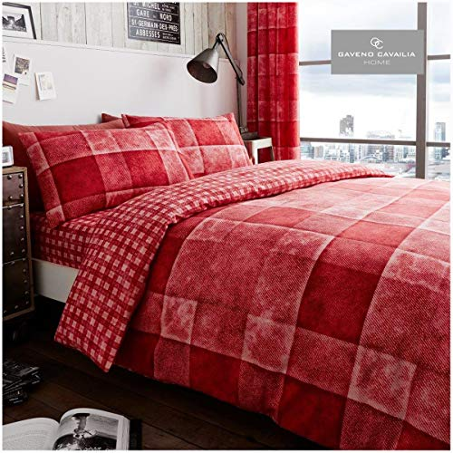 Gaveno Cavailia Luxury DENIM CHECK Bed Set with Duvet Cover and Pillow Case, Polyester-Cotton, Red, Double