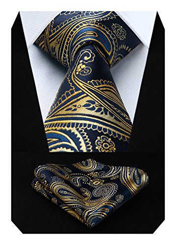 HISDERN Herren Krawatte Blumen Paisley Hochzeit Krawatte & Einstecktuch Set