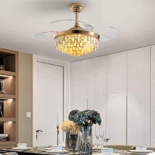 HJUYV-ERT Ventilador de Techo de Cristal Ligero Luz de Ventilador Invisible Luz de Ventilador de Restaurante Lámpara de Ventilador de Dormitorio, hermosamente