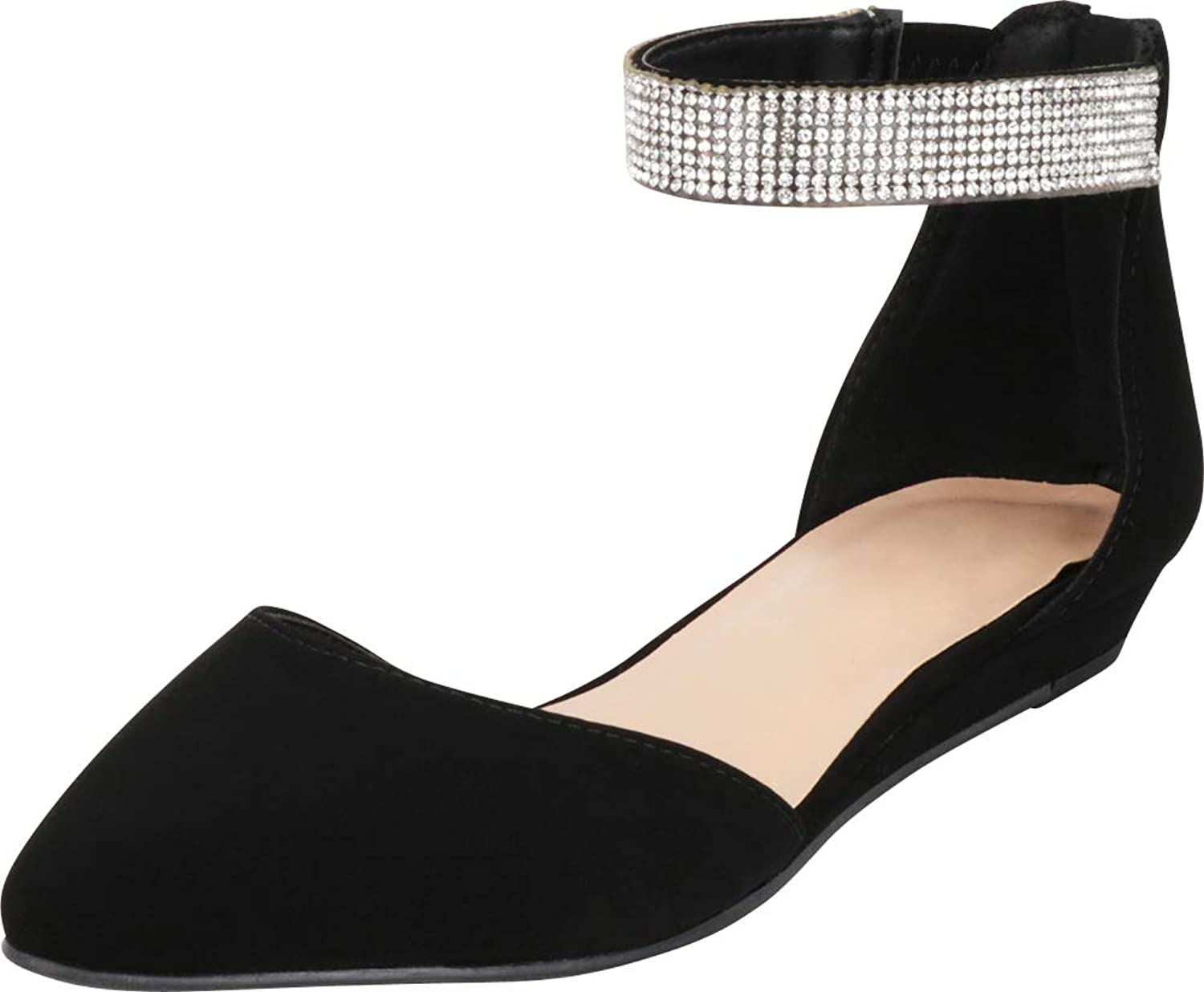Cambridge Select Women's Pointed Toe D'Orsay Crystal Rhinestone Ankle Strap Low Wedge Ballet Flat