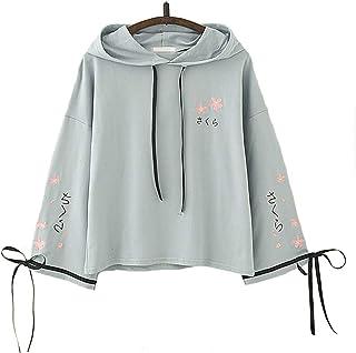 Fashionable Pretty Teen Girl Unique Design Japanese Sakura Text Print Sakura Detail Ribbon Long Sleeves Hoodie Jacket,Cute...
