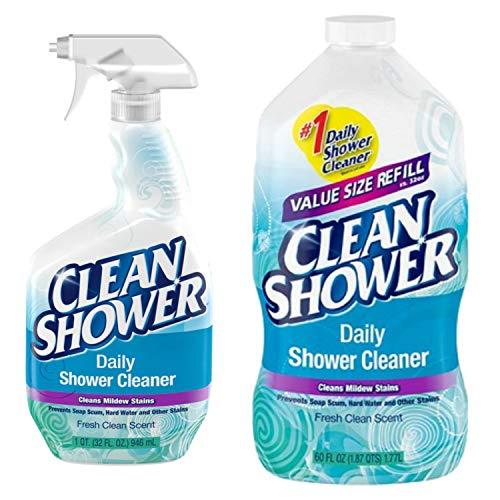 Clean Shower Daily Shower Starter Kit Refill Bundle Pack, 1 Spray Bottle, 1 Refill