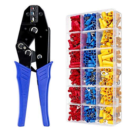 QFUN Crimpzange Kabelschuhe Set, 27 Arten von Flachstecker AWG20-10(0,5-1,5 mm²) (1,5-2,5 mm²) (4-6 mm²) Kabelschuh Sortiment Abisolierzange Aderendhülsenzange mit 700 Stück Aderendhülsen Set