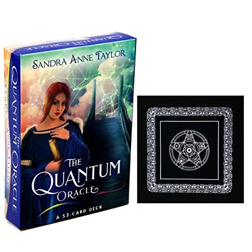 Die Quantum Oracle 53-Card Deck mit schwarzem Plüsch Altar Tabellen-Tuch, Pentagram Retro Tarot Tuch und Reiseführer Occult Divination