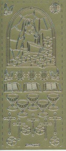 pickup® - Pegatinas de contorno de oro 232 'Comunión/Confirmation', para niña, Biblia, Cáliz, Cruz