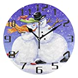 Kncsru Navidad Lindo muñeco de Nieve Reloj de Pared de Navidad silencioso sin tictac 9,8 Pulgadas Re...