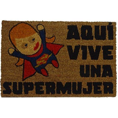 Koko doormats Felpudo Entrada Casa Aquí Vive Supermujer