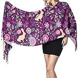 YINYINYIN. Cashmere scarf Grand foulard pour femme Lapins de Pâques Printemps Floral Vin à la framboise Doux sentiment de cachemire Pashmina Châles Wraps