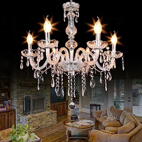 Samger Lustre à 6 bras Verre cristal K9 Plafonnier E14 Suspension pour entrée de couloir de chambre à coucher de salon