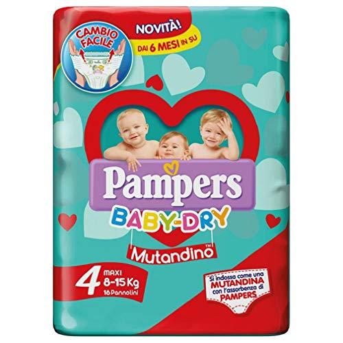 Pampers - Baby Dry Mutandino Maxi Duo, 64 pannolini quattro confezioni da 16, Taglia 4 (8-15 Kg) formato parafarmacia