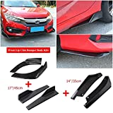 Universal Glossy Black Car Front Bumper Body Kit Lip & Side Skirt Winglets Diffusers & Rear Lip Angle Diffuser Kit Compatible With Most Vehicle