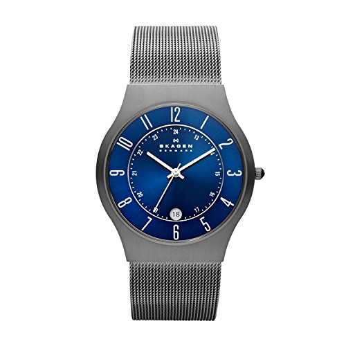 Skagen Men's White Label Titanium Analog-Quartz Watch with Metal Strap, Grey, 22 (Model: 233XLTTN)