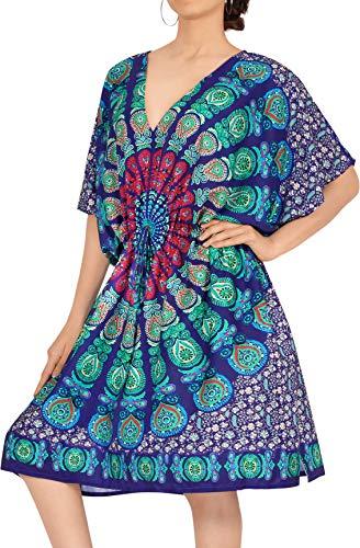 LA LEELA Abito Firmato Prendisole Beachwear Lettino più Bikini Blu Copertura delle Donne in su