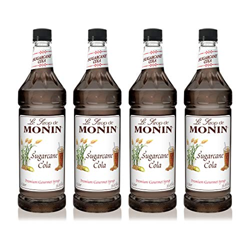 Monin - Sugarcane Cola Syrup, Authentic Cola Flavor, Great for Soda, Floats, and Slushes, Vegan, Gluten-Free (1 Liter, 4-Pack)