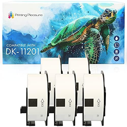 5x Adressetiketten kompatibel für Brother DK-11201 29mm x 90mm (400 Stück/Rolle) P-Touch QL-500 550 560 570 700 710W 720NW 800 810W 820NWB 1050 1060N 1100 1110NWB, Thermopapier mit Kunststoffhalter